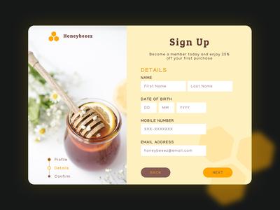 Honeybeeez | Sign Up Page