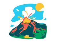 Piton de la fournaise - Reunion island illustration vector minimalist bright color combinations island volcano
