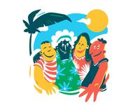 Under the sun tropical sun colorful illustration