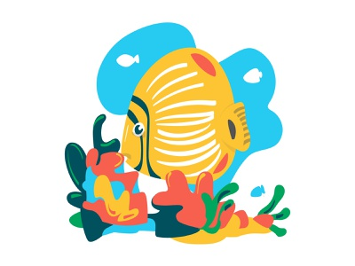 Tropical fishes ecology simple shapes vector minimalist illustration colorful reef tropical fish