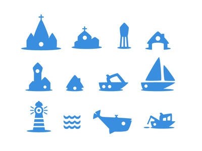 Map Iconset (sea & countryside)