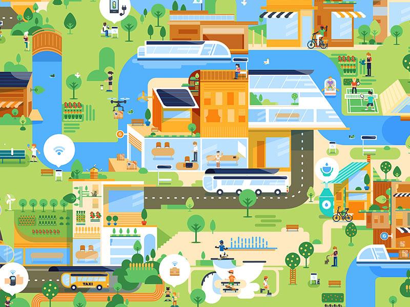 Good futur map city map ecology flat futur vector