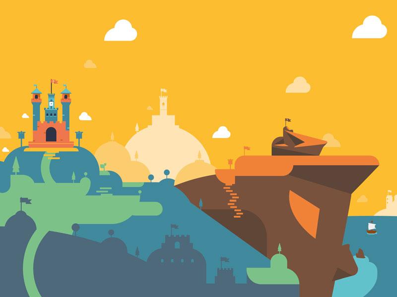 Avalon illustration vector minimalist castle