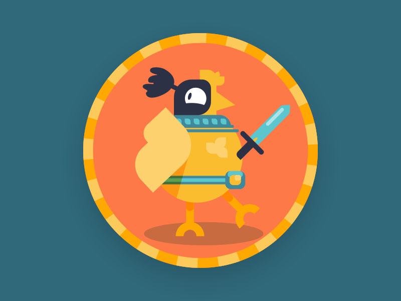 Medieval Chicken Knight vector badge medieval knight chicken