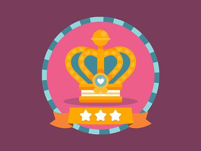 Crown badge illustration stars vector badge medieval crown