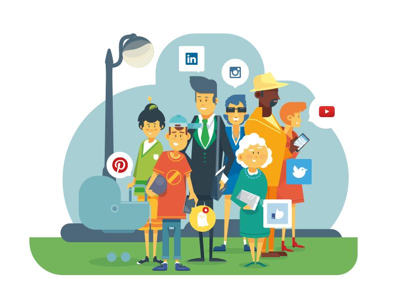 Social media family flat social media vector illustration