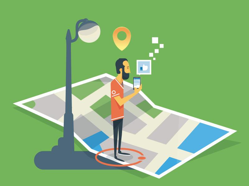 Walking around map like geolocation flat social media vector illustration