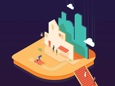 Scenery moovie town illustration vector isometric