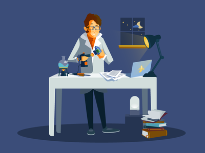 The Scientist vector illustration diy chemist experience scientist