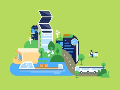 Good Futur flat illustration vector energy scene city futur