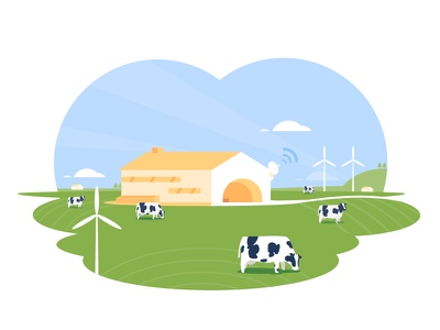 Farming vector illustration green cow farm