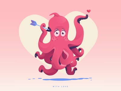 Octolove cute arrow heart valentines day romance pink love octopus valentine