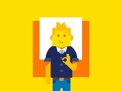 Square man vector minimalist character illustration flat