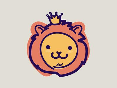 Lionking Jr king lion cute doodle hand crafted minimalist illustration vector