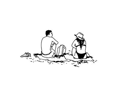 TLV BEACH TIME. Couple At The Beach street art telaviv draw line art black  white sketch art illustration graphic artist graphic studio graphic design graphic art tel aviv sea happiness beach lifestyle together love couple