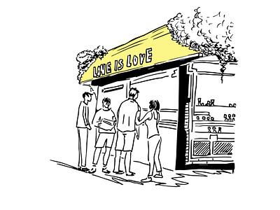 TLV CORNERS. MORNING CAFE line art graphic art telaviv graphic artist tel aviv ink blackandwhite graphic design sketch illustraion street city morning people café coffee