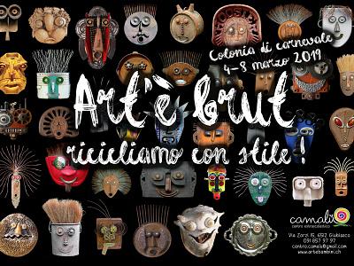 Flyer Carnival Camp for children web design kids design recycling art brut mask carnival