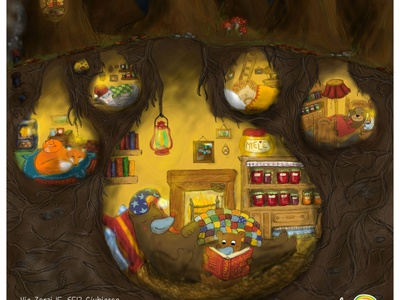 Flyer Autumn Children Camp childrens illustration camp flyer bear children