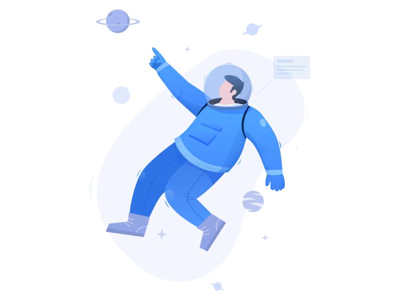 Space astronaut 矢量 ui 插图 illustration design