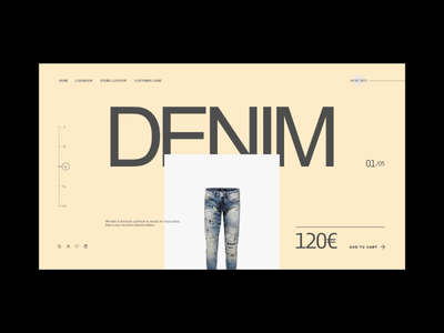 Denim Website Concept. ui ux e-commerce shop denim design web