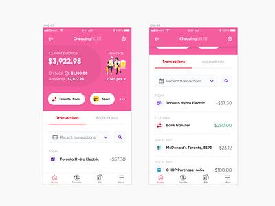 Account transactions bank app