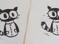 Racoon Lino Prints