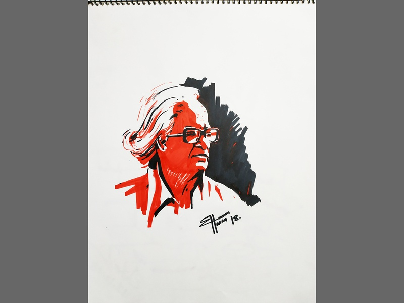 black & red marker portrait painting