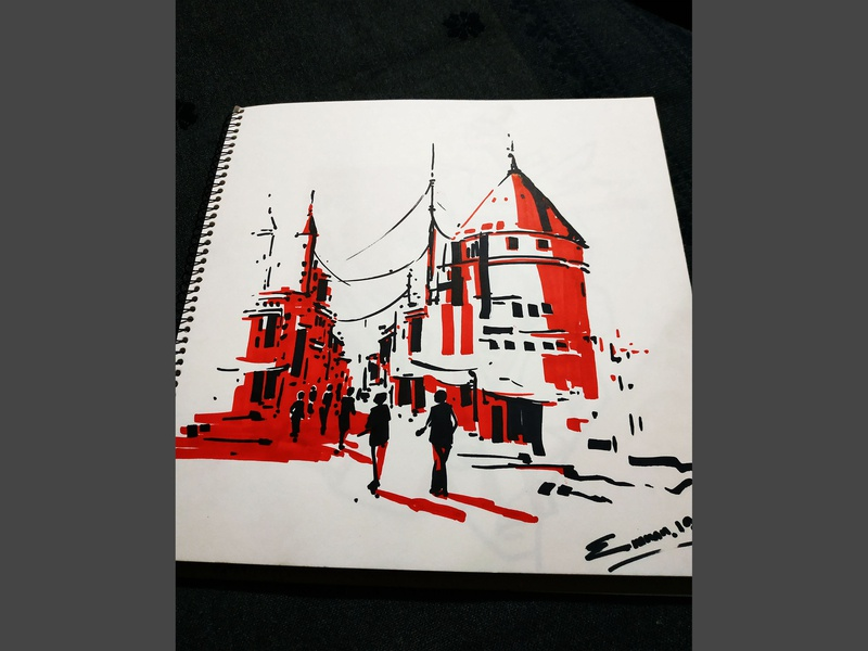 black & red marker painting illustration