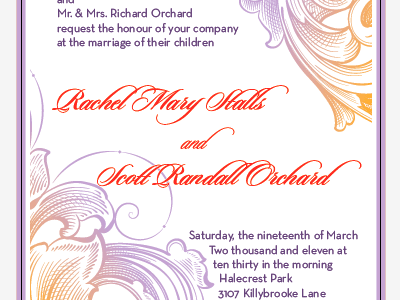 Invitation Idea 1 version 2 lavender orange wedding scroll script geometric blood orange typography
