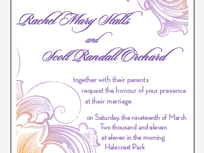 Final Wedding Invitation geometric lavendar blood orange typography scroll script wedding lavender
