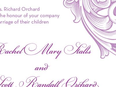 Invitation Idea 1 purple lavender wedding scroll typography geometric script