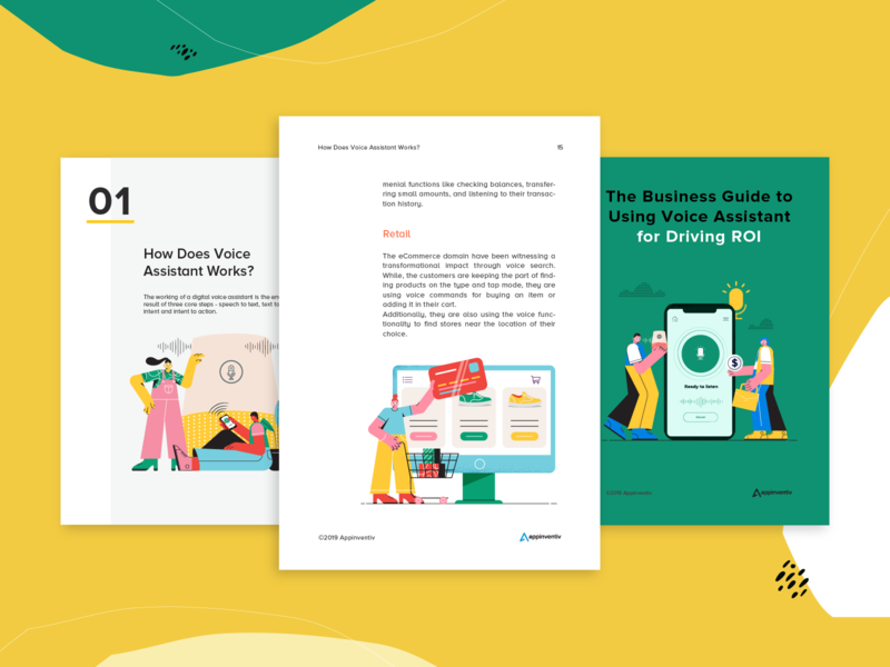 ebook | Voice Assistant | for Appinventiv ux vector branding ui animation graphicdesign artificialintelligence business book template design ebook voice assistant machinelearning illustraion ai
