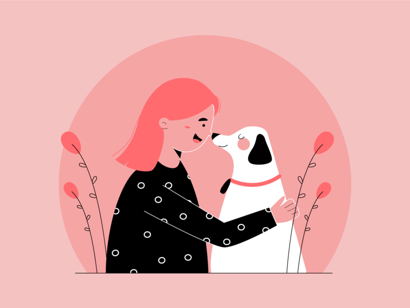 dog love pet cute animal cute people happy hug girl vector characterdesign character design art illustration minimal doggy illustration2d flat love dog