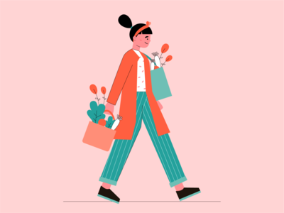 grocery shopping abstract identity idea illustrator characterdesign people shopping vector art grocery art simple sketch branding design graphicdesign vector minimal flat character illustration