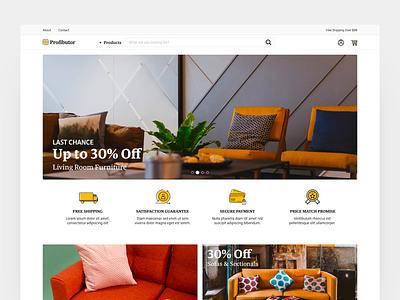 Profibutor webshop interactive ecommerce interaction web animation ux website ui typography design