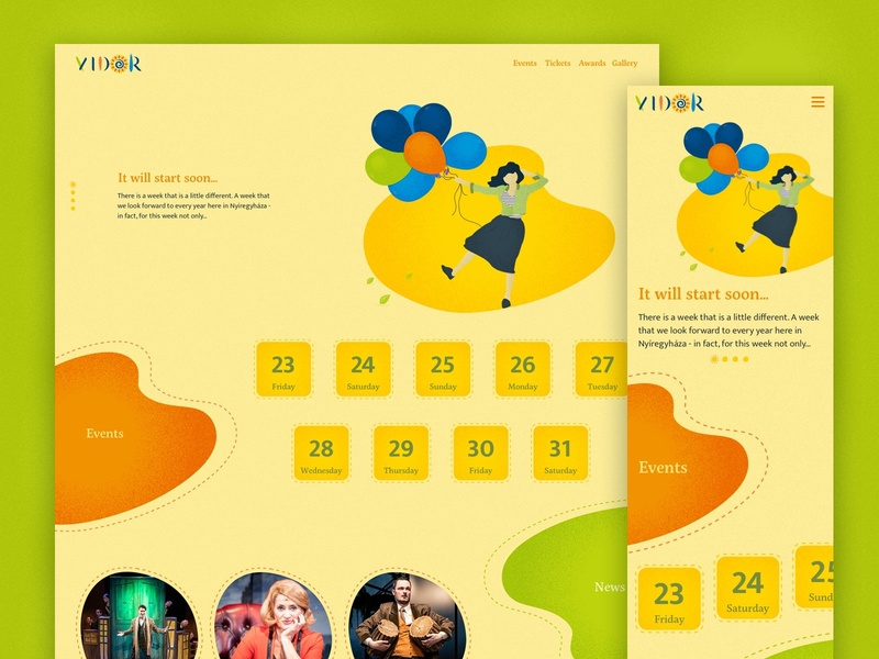Vidor Festival vector illustration art direction interactive web ux website ui typography design