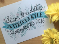 Watercolor Lettering Save the Dates