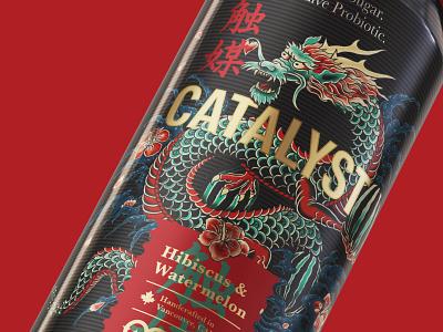 Catalyst: Crafted Kombucha calligraphy logo calligraphy illustration illustrator dragon drinks candesign can tattoodesign tattoo ryu packagedesign oriental kombucha packaging packaging kombucha japanese bottle design irezumi bottle