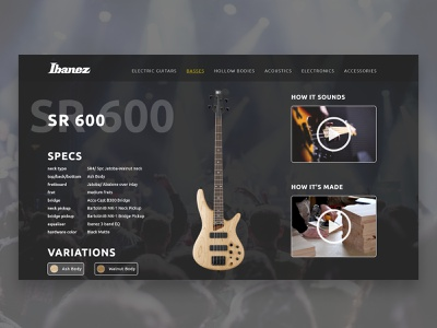 Ibanez Detail Page guitar bass music art website web typography branding ui  ux illustration webdesign design ux ui
