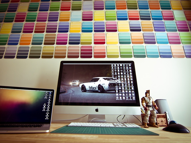 My home workspace imac macbook pro retina design office desk apple paint swatch colors ryu workspace