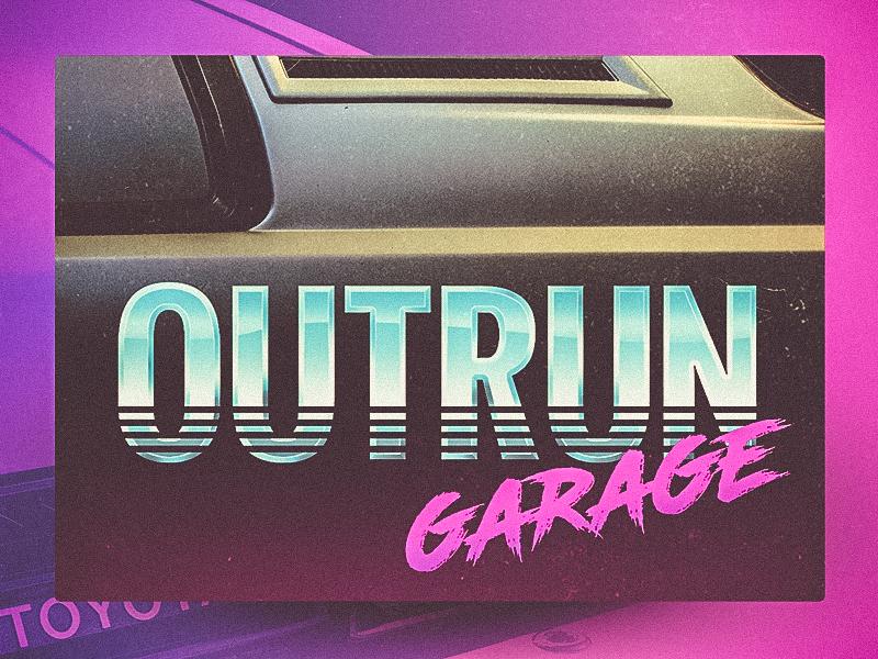 Dribbble outrun 80s logo 2