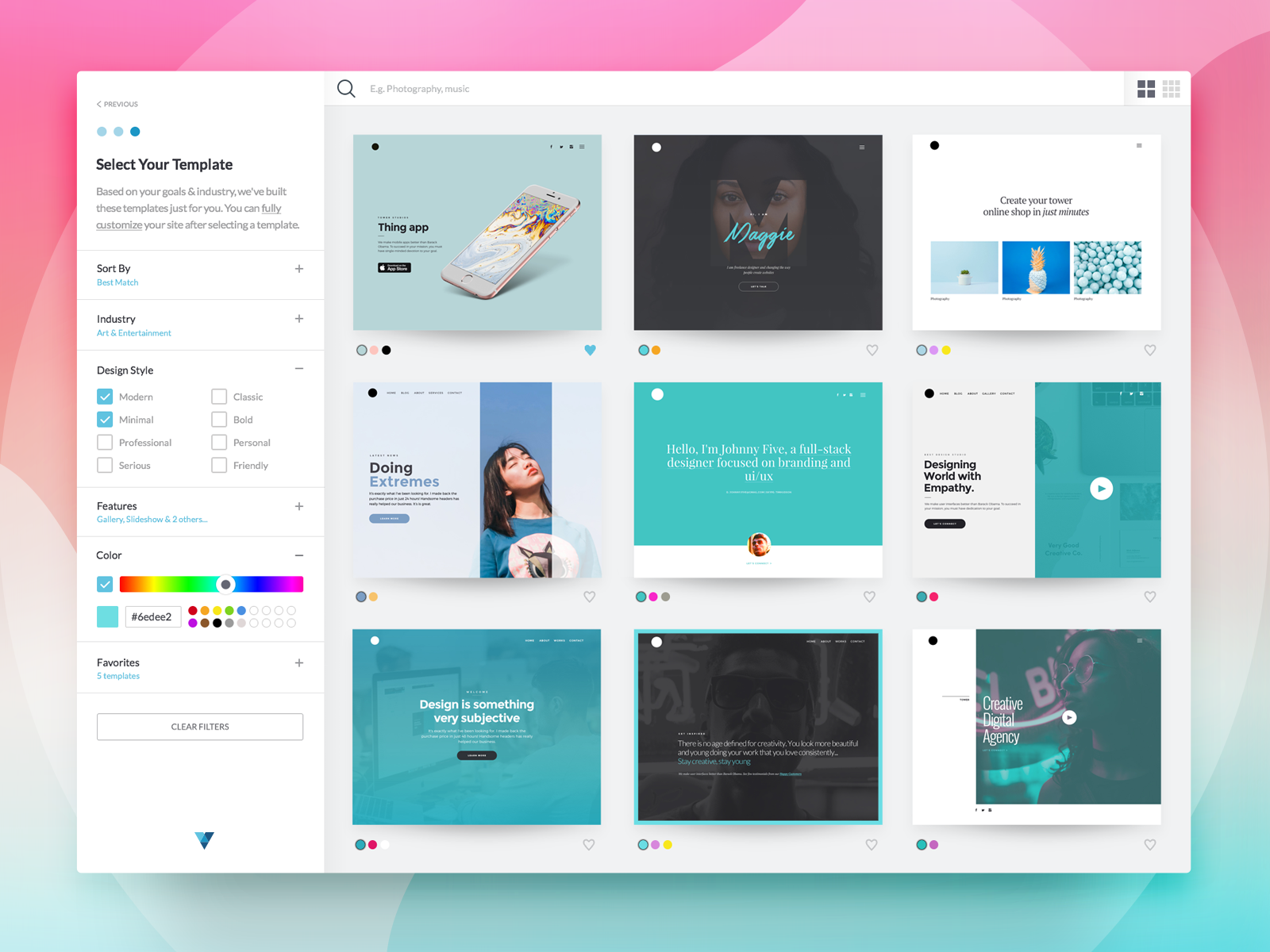 Dribbble template select