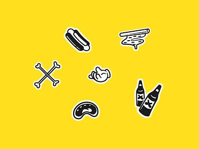Grubbin' Icons hotdog pizza sticker playful beer food eat illustrator stickers icons vectorart vector illustration