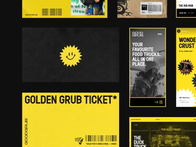 GoodGrub 🍔 playful street food food brand identity identity typography collateral concept direction art direction ui web brand
