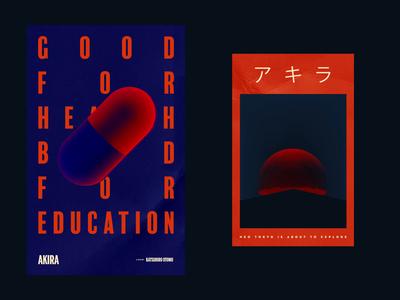AKIRA cyberpunk tokyo anime movie film grain object pill animated poster cinema4d loop animation c4d poster akira