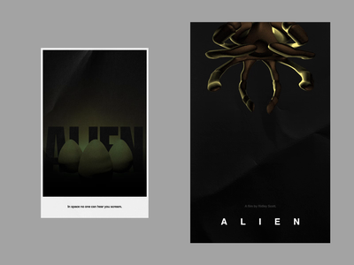 ALIEN facehugger typography minimal ridley scott movie poster poster animation cinema4d c4d motion cult scifi movie film alien