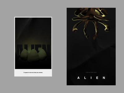 ALIEN facehugger typography minimal ridley scott movie poster poster animation cinema4d c4d motion cult scifi movie film alien
