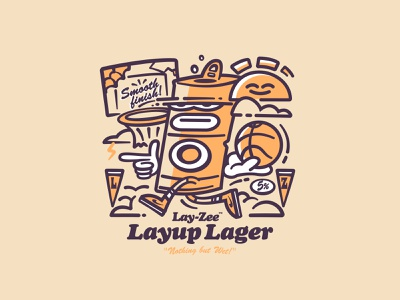 LAY-ZEE LAYUP LAGER clouds sneakers nike basketball sun lowbrow fun character illustration lager design can beverage branding brand label beer