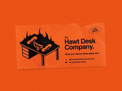 The Hawt Desk Co. orange lowbrow funny hot flames character illustration desk table business card design space studio hot desk