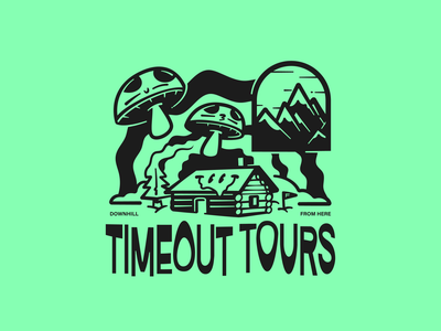 TIMEOUT TOURS warp characters vectorart vector fun apparel brand design mushrooms tree smiley psychedelic trippy timeout cabin illustration